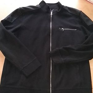 Zip up lightweight jacket with leather-look top